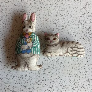 VTG Cloth Rabbit & Cat Figurines